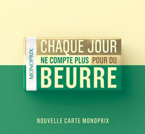 Publicité Monoprix sur packaging plaquette de beurre